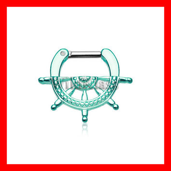 Teal Septum Clicker 16g Teal Classic Nautical Wheel 14g Septum Ring Earring Cartilage Piercing Tragus Ring Helix Conch Nose Belly Nipple