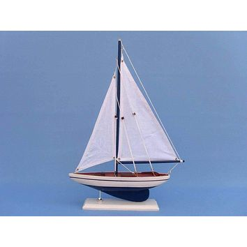 Wooden Blue Pacific Sailer Model Sailboat Decoration 17""