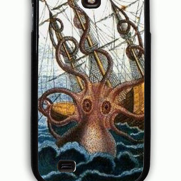 Samsung Galaxy S4 Case - Rubber (TPU) Cover with Giant Squid Kraken Sea Monster Myth Rubber Case Design