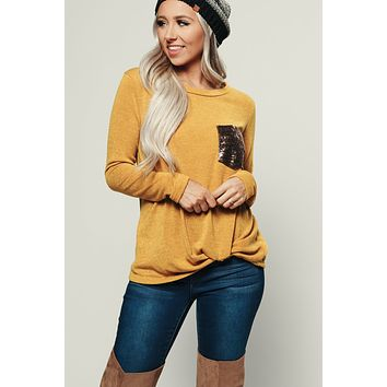 Single Mingle Sequin Top (Mustard)