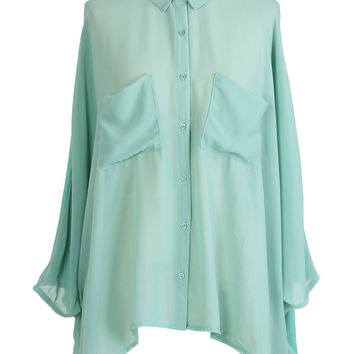 Mint Double Pockets Shirt - Tops - Retro, Indie and Unique Fashion