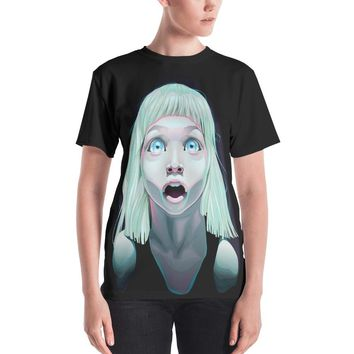 Shocked Little Girl With Blue Eyes Women's All-Over Sublimation T-Shirt