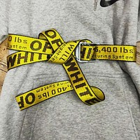 LV x Supreme co-branded men and women models OW canvas fashion belt full printed hoodie