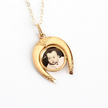Vintage Art Deco Yellow Gold Filled Photographic Horseshoe Pendant Necklace - 1930s Germany Old Stock Celluloid Baby Photo Good Luck Jewelry