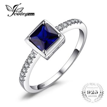 JewelryPalace Square 0.9ct Created Blue Sapphire Solitaire Ring 925 Sterling Silver Ring For Women New Vintage Jewelry