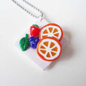FRUIT NECKLACE  fruit assortiment on a plate by FrozenNote on Etsy