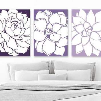 PURPLE Flower Wall Art, CANVAS or Prints, Purple Bathroom Pictures, Purple Bedroom Decor, Succulent Flower Artwork, Set of 3 Home Wall Decor