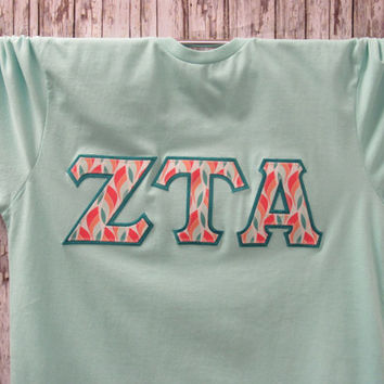 Light Aqua Chill Short Sleeve Sorority Double Stitched Letters Shirt