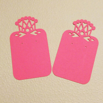 Earring Display Cards - Tiara, Fuschia Color Heavy Cardstock (15)