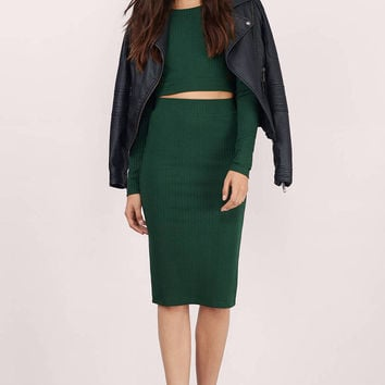 Rib Me Down Slit Pencil Skirt