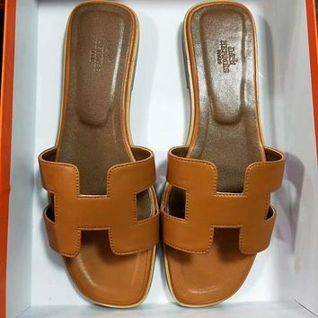 Hermes Women Leather Fashion Slipper Flats Shoes