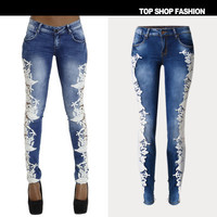 Lace Floral Printed Women Jeans Trousers Pants _ 1083