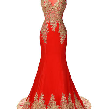 Mermaid Applique Prom Dresses,Red Prom Dresses,Long Evening Dress