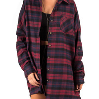 Plaid Flannel Shirt Dress - Plum - Plum /