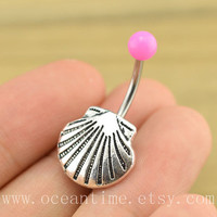 shell Belly Button Rings,sea shell belly button jewelry,hot pink Navel Jewelry,friendship belly button jewelry