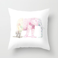 Patterned Elephant Throw Pillow by Lucy Helena | Society6