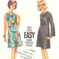 Butterick 60s Retro Sewing Pattern Mod A-line Tent Dress Bell Sleeves Oval Neck Band Collar Loose Fit Uncut FF Bust 36