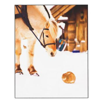 Cute horse and rabbit in snow wood wall art