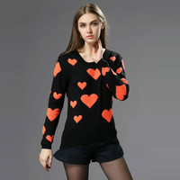 Autumn pullovers women new fashion sweet orange heart Jacquard knitted sweaters long sleeve O neck casual sweater SW2323