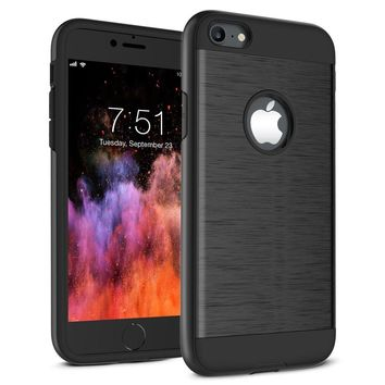 iPhone 7 Case, iPhone 8 Case, A-Maker Shockproof of Heavy Duty Full Protective Anti-Scratch Resistant Dual Layer Rugged Cover for Apple iPhone 7, iPhone 8 (Black)