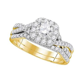 14kt Yellow Gold Women's Round Diamond Halo Twist Bridal Wedding Engagement Ring Band Set 1.00 Cttw - FREE Shipping (US/CAN)