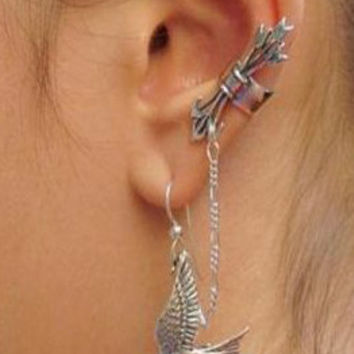 Bronze or Sterling Silver Bird Arrow Cuff Earrings Ear Jacket