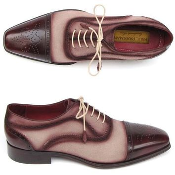 Paul Parkman (FREE Shipping) Men's Captoe Oxfords - Bordeaux / Beige Hand-Painted Suede Upper and Leather Sole (ID#024-BRR)