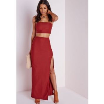 Thigh High Split Maxi Skirt Terracotta - Skirt - Maxi - Missguided