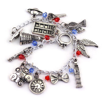 hOT sale TARDIS Doctor Who  Brecelet 1pc ONCE UPON A TIME charm Bracelet  Alien Robot Police Box Vintage jewelry Christmas gift
