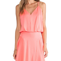 MILLY Stretch Silk Crepe Blouson Tank Dress in Coral