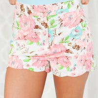High Waisted Floral Print Shorts