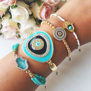 Turquoise bracelet, evil eye bracelet, gold bracelet collection, hamsa bracelet
