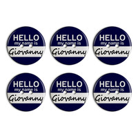 Giovanny Hello My Name Is Plastic Resin Button Set of 6