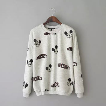 Summer Alphabet Long Sleeve Pullover Casual Tops Hoodies [6045397441]
