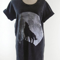 Moon Night Howling Wolf T-Shirt Fox T-Shirt -- Bleach Shirt Black Shirt Unisex T-Shirt Women T-Shirt Men T-Shirt Wolf Shirt Fox Shirt Size M