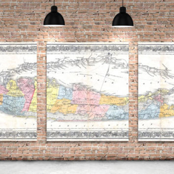 3 Panel Long Island Sound New York Antique Vintage Map Color Print on Canvas Giclee Home Decor Nautical Theme Art Deco