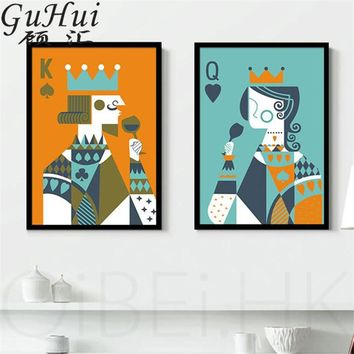 Cool Creative Cartoon Playing Cards King And Queen Canvas Decorative Painting Personality Living Room Coffee Shop Art Poster PictureAT_93_12