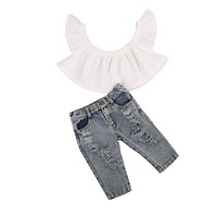 Infant Kid Baby Girls Clothing Off Shoulder Tops Hold Denim Pants Jeans Outfits Clothes