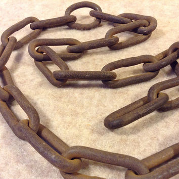 Antique Vintage Iron Chain Logging, Farming, Marine, Industrial - Rustic Decor - Oblong Links