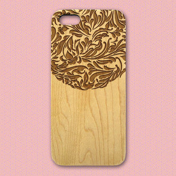 Filigree Design Wood iPhone Case, natural wood iphone case, engraved iphone 4 5 5C 6 cover, flower pattern