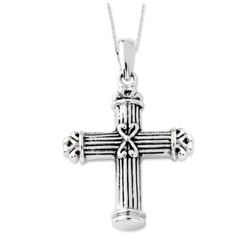 Rhodium Plated Sterling Silver Pillar Cross Ash Holder Necklace, 18in
