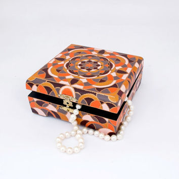 """Wooden jewelry box """"Morocco"""" // Home decor and jewelry storage // Birthday gifts // Mother's Day gifts // Orange, brown, white box // OOAK"""