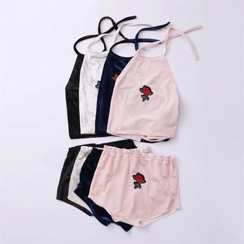2017 Summer Fashion Velvet Two Piece Set Rose Embroidery Patch Designs Halter Top And Shorts 2 Piece Set Women Elastic Waist