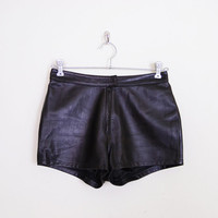 Black Leather Shorts Buttery Soft Leather Motorcycle Shorts 80s Leather Moto Shorts 90s Leather Biker Shorts Leather Mini Shorts S Small