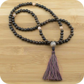 Tiger Ebony Wood Mala Beads Necklace with Peach Moonstone