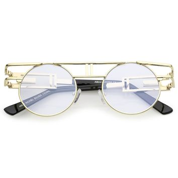 Steampunk Laser Cut Round Round Flat Clear Lens Glasses C089