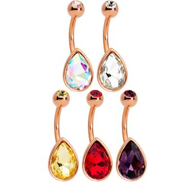 Color Gem Rose Gold Tone Drop Glamour Belly Ring Set of 5