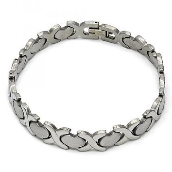 Stainless Steel 03.114.0235.08 Solid Bracelet, Hugs and Kisses Design, Polished Finish, Steel Tone