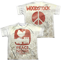 WOODSTOCK/PEACE NOW (FRONT/BACK PRINT)-S/S YOUTH POLY CREW-WHITE