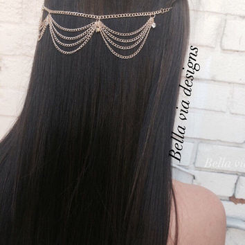 Cascading Gold Head Chain Accessory Music Festival Wear, Gold  Head Jewelry,  Boho Hair Chain, Accessories For Hair, Head Chain Jewelry